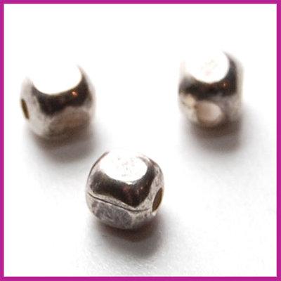 Sterling zilver 925 kraaltje blokje 3,5x3,5mm antiek