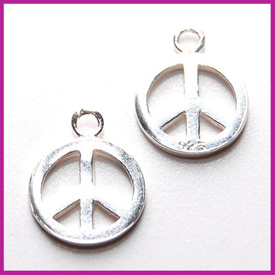 Sterling zilver 925 bedel peace 12x15mm glanzend