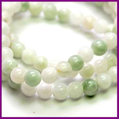 Jade rond ø4mm White Green