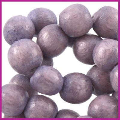 Houten kraal rond ø6 aardse tinten Aubergine purple