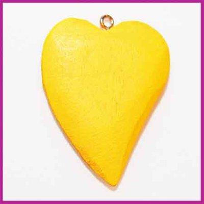 Houtenkraal hanger hart oker geel
