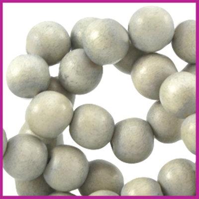 Houten kraal rond ø6 aardse tinten Light grey beige