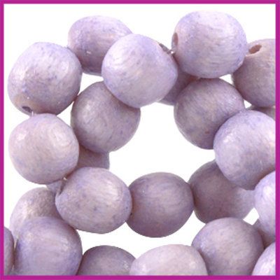 Houten kraal rond ø6 aardse tinten Stonewash purple