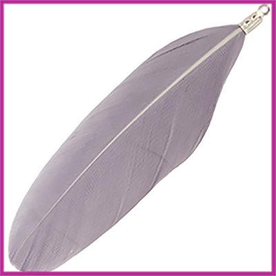 Veertje ca. 7 - 8cm met klemmetje Grey