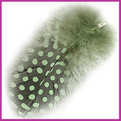 Veertje ca. 7 - 8cm met klemmetje Chrysolite green zwart