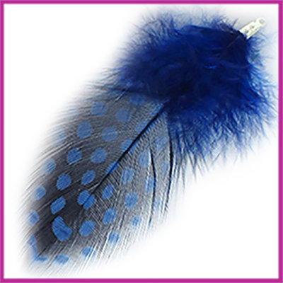 Veertje ca. 7 - 8cm met klemmetje Cobalt blauw zwart
