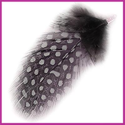 Veertje ca. 7 - 8cm met klemmetje Grey zwart