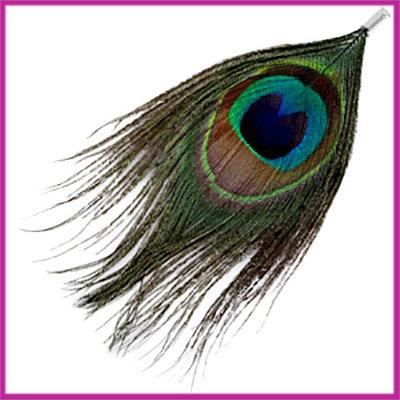 Veertje Pauw multicolor met klem ca. 12cm