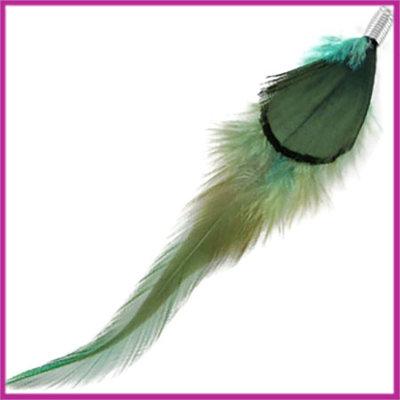 Veertje duo turquoise blauw dark green met klem ca. 10cm
