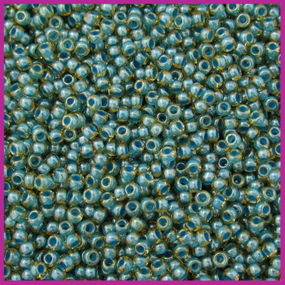 ToHo rocailles 11/0 Inside Color Jonquil Turquoise Lined