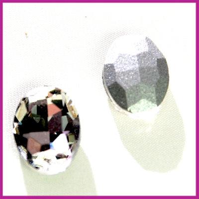 Glas plaksteen facet 14x10mm ca.5mm dik Crystal