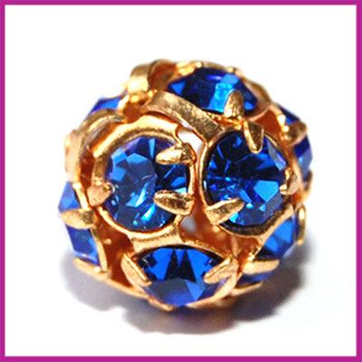 Strassbal goud blauw ø10 mm