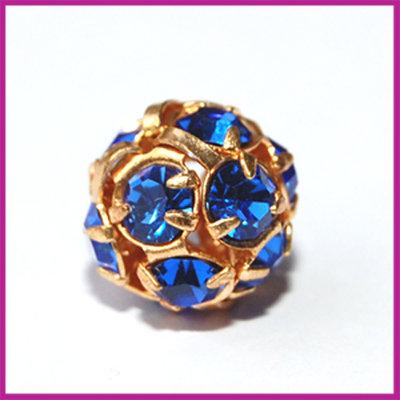 Strassbal goud blauw ø8 mm