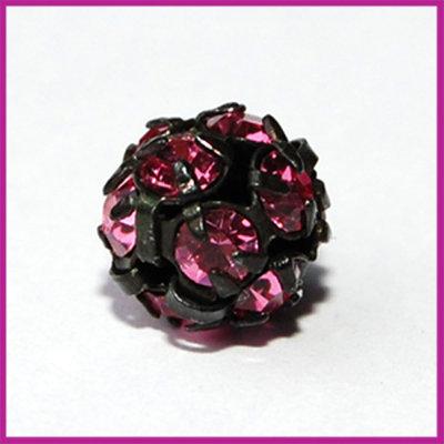 Strassbal zwart roze ø8 mm