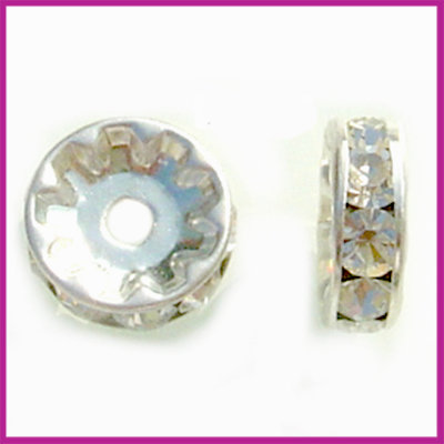 Strass rondel zilver crystal 8 mm