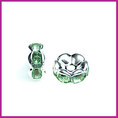 Strass rondel zilver Peridot groen 7 mm