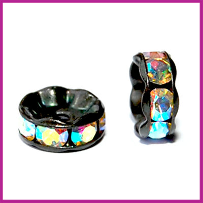 Strass rondel zwart crystal AB 8 mm