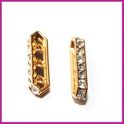 Strass verdeler 3-gaats goud crystal