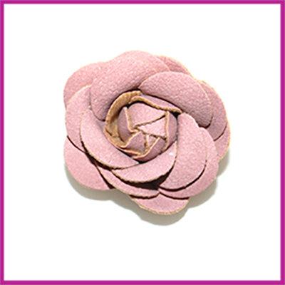 Bloem van stof en imitatieleer ca. 44x24mm vintage rose