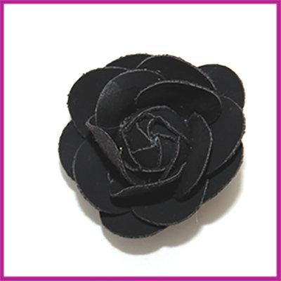 Bloem van stof en imitatieleer ca. 44x24mm zwart