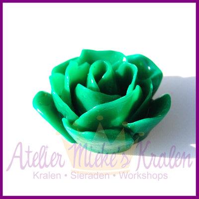 Kunststof kraal roos ca. 22x11mm groen