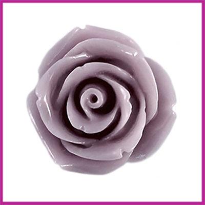 Kunststof kraal roos 22mm Licht grijs paars