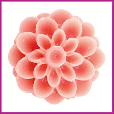 Kunststof kraal Dahlia 14mm Shiny coral pink