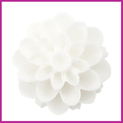 Kunststof kraal Dahlia 14mm Shiny wit