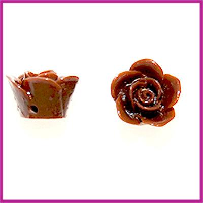 Kunststof kraal roos 12mm Donker Bruin