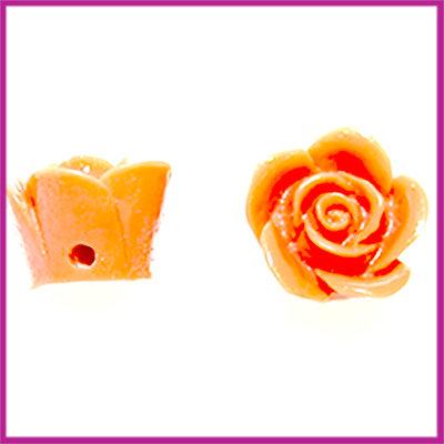Kunststof kraal roos 12mm Donker Oranje Bruin