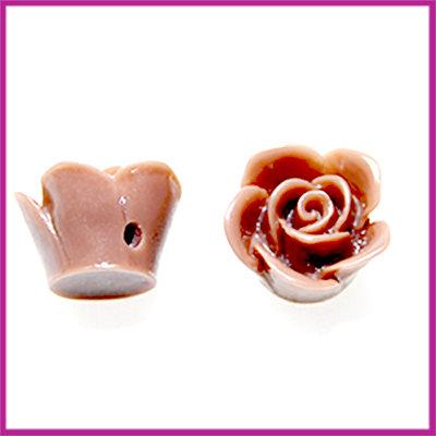 Kunststof kraal roos 12mm Lever grijs bruin