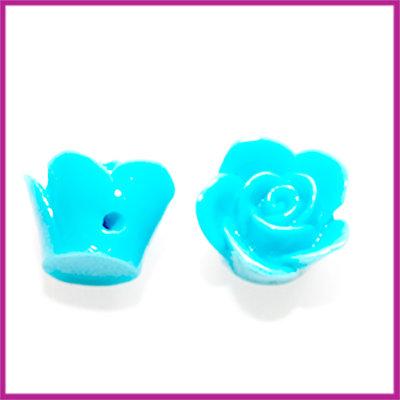 Kunststof kraal roos 12mm Aqua blauw
