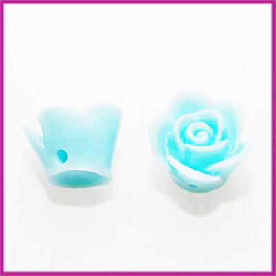 Kunststof kraal roos 12mm Licht azuur blauw
