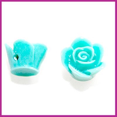 Kunststof kraal roos 12mm Turquoise groen blauw