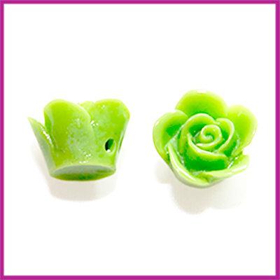Kunststof kraal roos 12mm Licht olijf groen