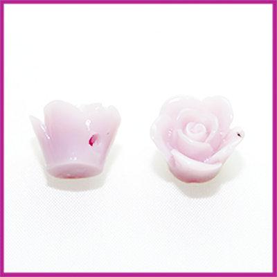 Kunststof kraal roos 12mm Licht grijs paars