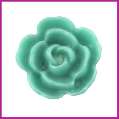 Kunststof kraal roos 10mm Pacific turquoise green
