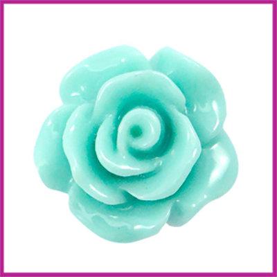 Kunststof kraal roosje 10mm Shiny turquoise green