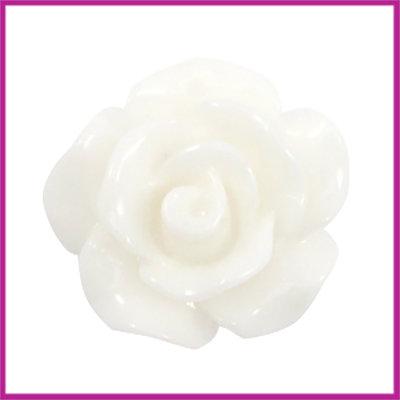 Kunststof kraal roosje 10mm Shiny wit