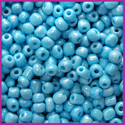 Rocailles 6/0 (4mm) Rainbow light blue