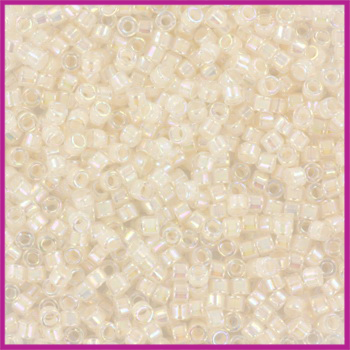 Miyuki Delica 11/0 Pale Peach Lined AB Crystal
