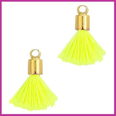Kwastje mini Ibiza Style met eindkap goud neon geel
