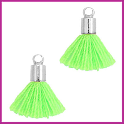 Kwastje mini Ibiza Style met eindkap zilver neon groen