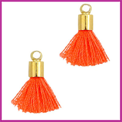 Kwastje mini Ibiza Style met eindkap goud neon oranje