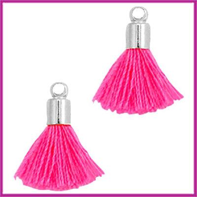 Kwastje mini Ibiza Style met eindkap zilver neon pink