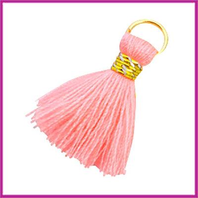 Kwastje Ibiza style 2cm met ring goud neon coral pink