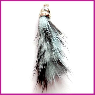 Kwastje pluis ca.40x15mm Zwart/aqua
