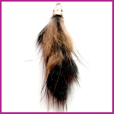 Kwastje pluis ca.40x15mm Zwart/bruin