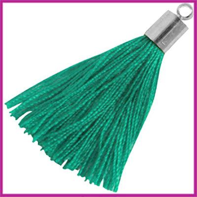 Kwastje met zilver eindkap ca.34mm Emerald green
