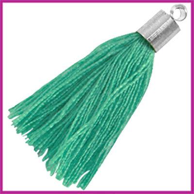 Kwastje met zilver eindkap ca.34mm Turquoise groen